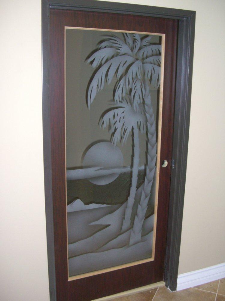 Palm Sunset 2d Door Glass Inserts Sans Soucie