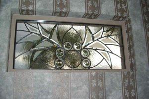 glass window custom glass Moroccan decor triangles circles arabesque bevel wings sans soucie