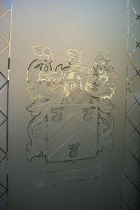 glass window sandblasted glass Ellison family crest sans soucie
