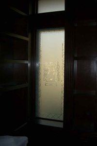 glass window etched glass design Ellison family crest sans soucie