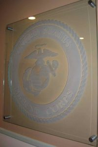 Glass Signs with Etching U.S. Marine Corps Seal by Sans Soucie