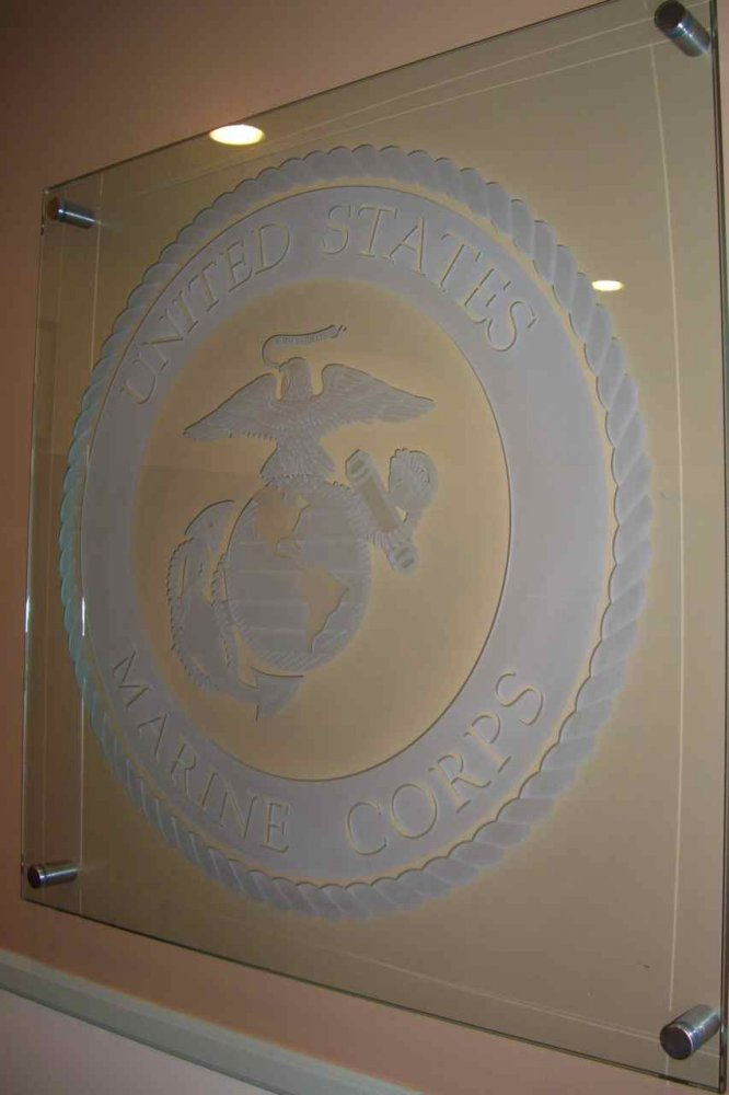 U S Marine Corps Seal Glass Signs Sans Soucie