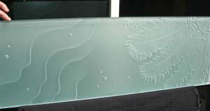 Sans Soucie Partitions Enclosed with Etched and Carved Glass Oceanic