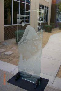 Sans Soucie Partition with Carved Glass Rustic Landscape