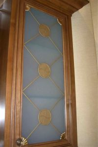Cabinet Door Inserts with Etched Carved and Painted Glass by Sans Soucie