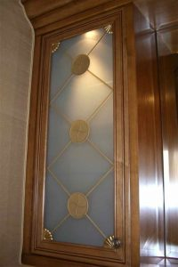 Cabinet Door Inserts with Carved Frosted and Painted Glass by Sans Soucie