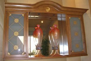 Sans Soucie Cabinet Door Inserts with Frosted Carved and Painted Glass