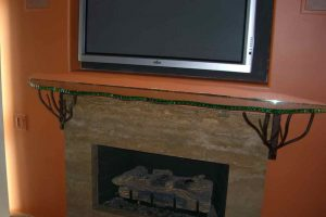 Sans Soucie Fireplace Mantel Shelf Polished and Chipped Edge Glass