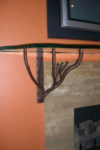 Fireplace Mantel Shelf Polished and Chipped Edge Glass by Sans Soucie