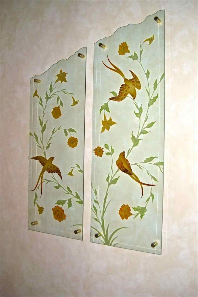 Wall Art with Etched Carved and Painted Glass doves by Sans Soucie