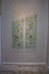 Wall Art with Painted Etched and Carved Glass doves by Sans Soucie