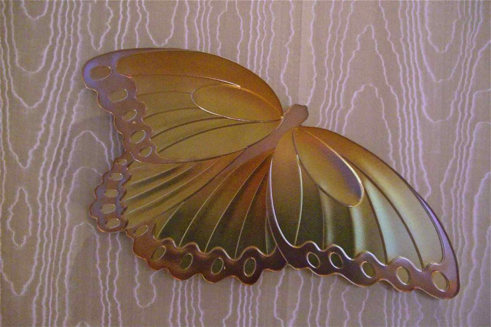 Glass Wall Art Carved Hand Painted Glass Butterfly By