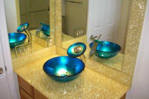 Sans Soucie Bathroom Vanity Counter Top with Shattered Glass gold