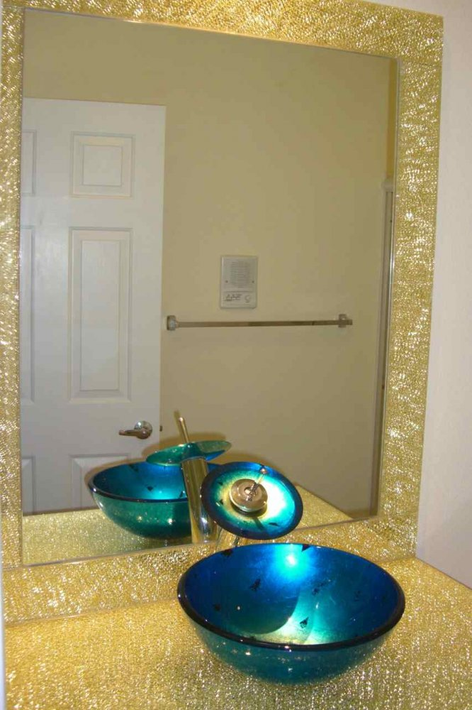 Bathroom Vanity Counter Top with Shattered Glass gold by Sans Soucie