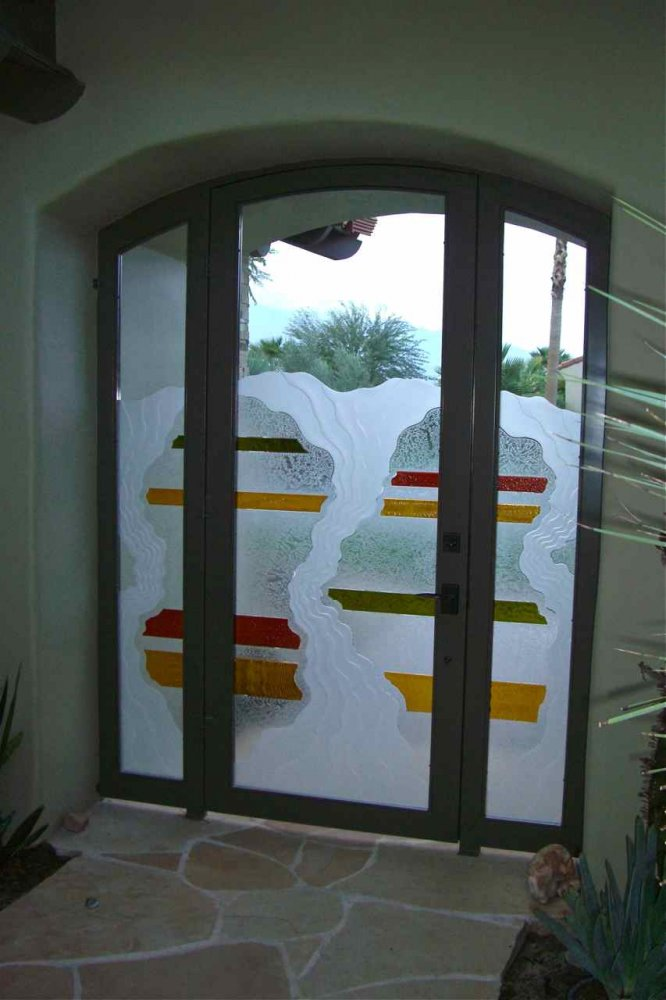 Entry Gate with Carved Painted and Gluechipped Glass Rustic Eclectic by Sans Soucie