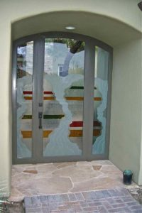 Entry Gate with Glass Carving Painted and Gluechipped Rustic Eclectic by Sans Soucie