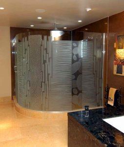 frameless glass shower doors glass etching modern decor spots bands nokes sans soucie