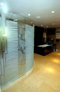 frameless glass shower doors frosted glass modern decor linear patterns nokes sans soucie