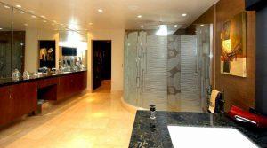 frameless glass shower doors custom glass modern decor wavy lines nokes sans soucie