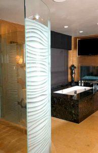 frameless glass shower doors sandblasted glass modern decor stripes patterns nokes sans soucie