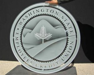 Sans Soucie Signs State Seal with Carved and Frosted Glass