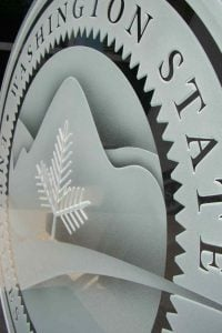 Signs State Seal with Carved and Etched Glass by Sans Soucie