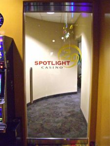 Sans Soucie Frameless Glass Doors Carved and Painted Glass Casino