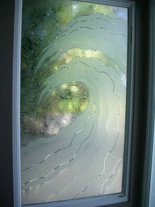 Window with Etched Carved and Gluechipped Glass Beach Decor by Sans Soucie