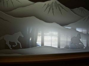Partitions Pony Wall Carved Tempered Glass Western Rustic horses by Sans Soucie