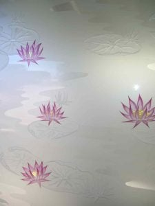 frosted glass English country decor flowery foliage lilly pads & lotus sans soucie