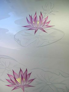 etched glass English country decor nature flowers lilly pads & lotus sans soucie