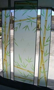 glass window etching glass Asian design stalks leaves bamboo forest sans soucie