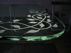 Glass Dining Tables Frosted and Carved French Victorian by Sans Soucie