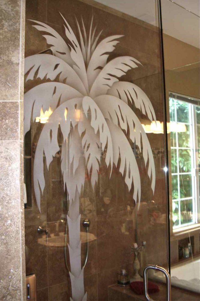 Plm Tree Gls Shr Enclosures Etched Glass Tropical Decor