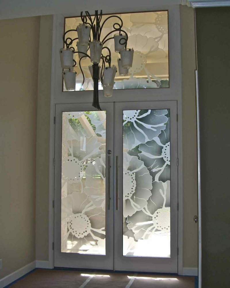 O Keefe Floral Pattern 3d Glass Door Inserts Sans Soucie