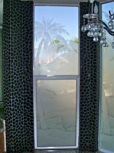 etched glass rustic style palm tree desert landscape sans soucie