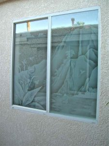 glass window frosted glass tropical style leafy foliage tropical waterfall sans soucie