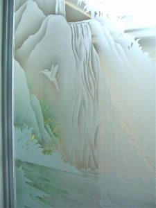 etching glass tropical style water flowing tropical waterfall sans soucie