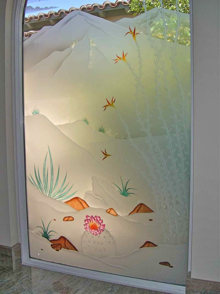 glass window frosted glass western decor plants outdoors desert in bloom sans soucie
