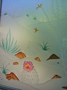glass window etched glass western decor flowers foliage desert in bloom sans soucie