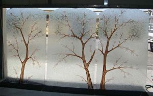glass window etching glass Asian decor nature flowers cherry blossom tree sans soucie
