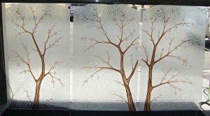 glass window sandblasted glass Asian decor foliage branches cherry blossom tree sans soucie