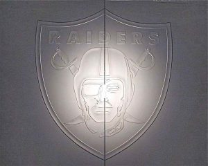 Frameless Glass Doors 3D Carved and Frosted Glass close up Raiders by Sans Soucie
