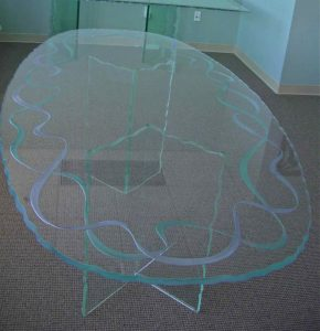 Glass Dining Tables Craved and Painted Tempered Glass Modern Ribbons by Sans Soucie