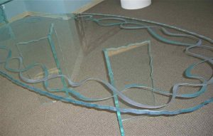 Glass Dining Tables Painted and Carved Glass Modern Ribbons by Sans Soucie