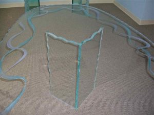 Glass Dining Tables Craved and Painted Glass Modern Ribbons by Sans Soucie