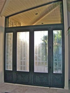 Door Inserts with Carved Etched Glass Art Deco Traditional by Sans Soucie