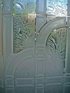 Front Door Inserts with Carved Glass Etching Art Deco Traditional by Sans Soucie