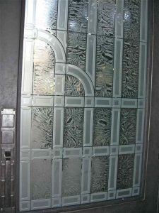 Front Glass Door Inserts Caved and Etched Art Deco Traditional by Sans Soucie