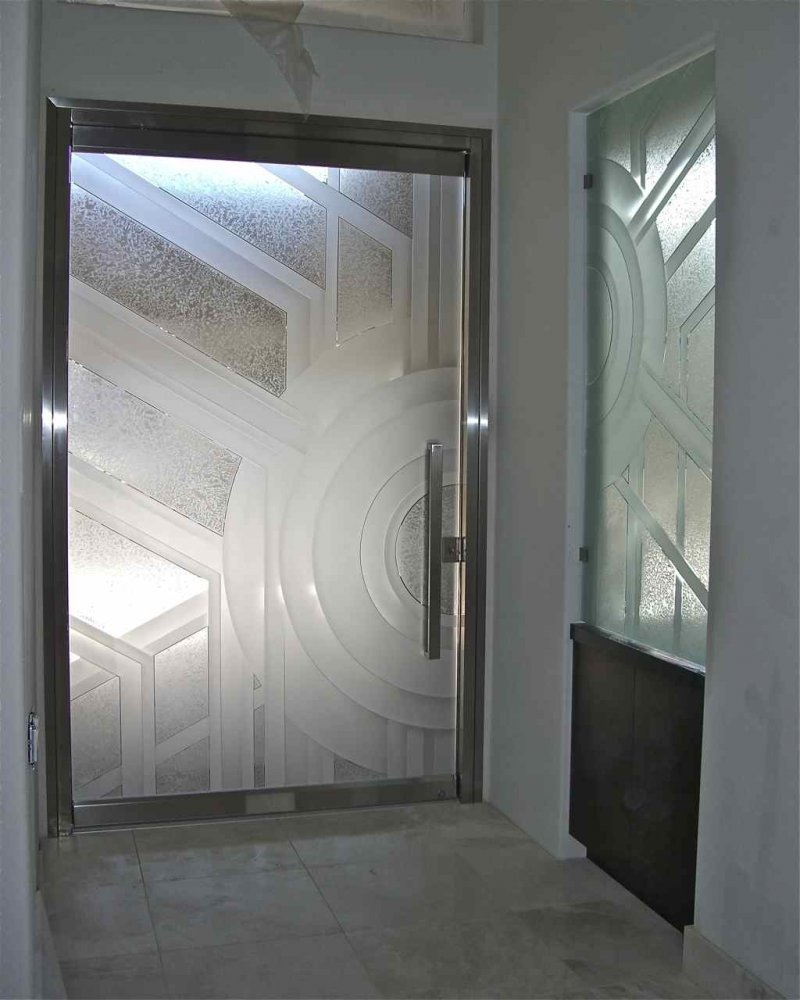 All Glass Frameless Etched Glass Entry Door Sans Soucie Sun Odyssey